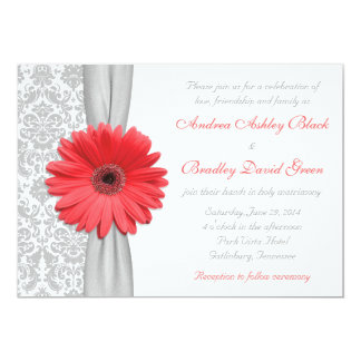 Coral Gerbera Daisy Grey Damask Wedding Invitation
