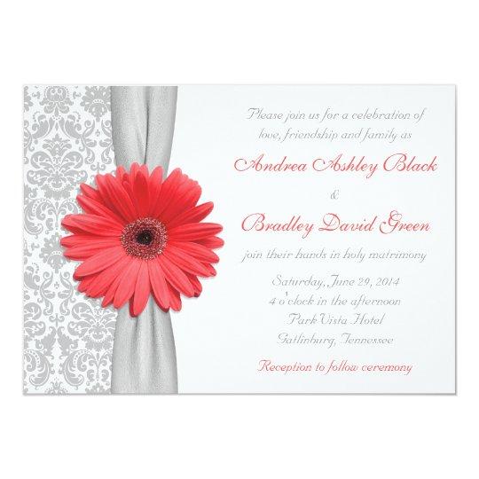 Coral Colored Wedding Invitations: Coral Gerbera Daisy Grey Damask Wedding Invitation