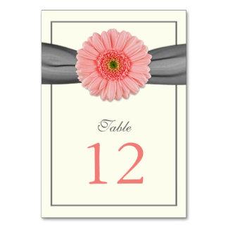Coral Gerbera Daisy Grey Ribbon Wedding Table Cards