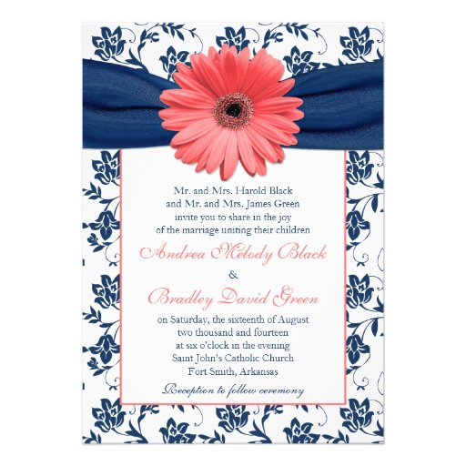 navy and coral wedding invitations personalized coral wedding invitations 6112