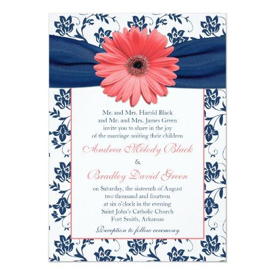 Gerbera Wedding Invitations: Coral Gerbera Daisy Navy Floral Wedding Invitation