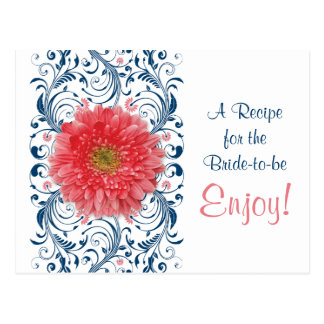 Coral Gerbera Daisy Navy Recipe Card Bridal Shower