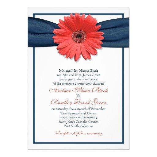 Coral Gerbera Daisy Navy Ribbon Wedding Invitation
