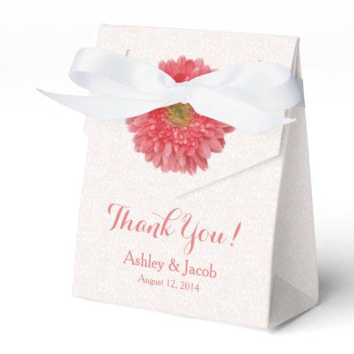 Wedding Favor Boxes Trinidad : Coral gerbera daisy white lace wedding thank you favor box