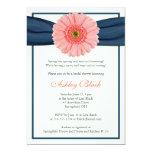 Coral Gerbera Navy Ribbon Bridal Shower Invitation