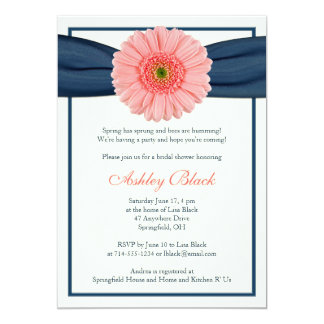 Coral Gerbera Navy Ribbon Bridal Shower Invitation