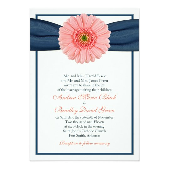 Coral Gerbera Navy Ribbon Wedding Invitation