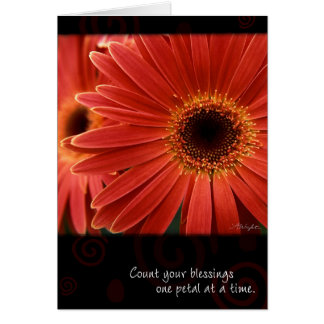Coral Gerbera with Quote, by Anna Wight Greeting Cards