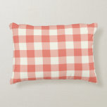 "Coral Gingham Pattern Accent Pillow<br><div class=""desc"">Coral gingham accent pillow. Machine washable. Made in the U.S.A. Insert included. High quality cotton or polyester,  available in many sizes and colors. Decorative modern accent pillows with gingham check pattern covers,  perfect for the living room couch,  family room or bedroom.</div>"