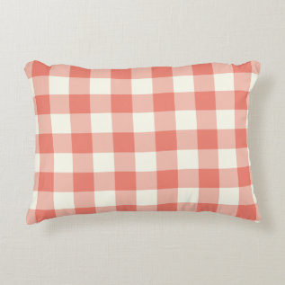 Coral Gingham Pattern Accent Pillow at Zazzle