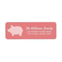 Coral Gingham Piggie Address Labels