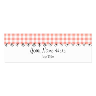Coral Gingham stripe business card skinny
