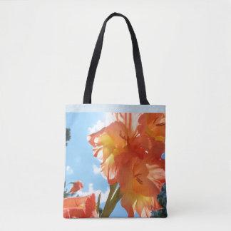 Coral Gladiolus Printed Tote Bag