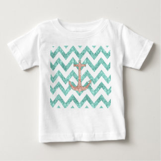 Coral Glitter Nautical Anchor Teal Chevron Zigzags Baby T-Shirt