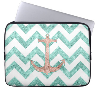 Coral Glitter Nautical Anchor Teal Chevron Zigzags Computer Sleeve