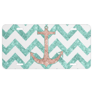 Coral Glitter Nautical Anchor Teal Chevron Zigzags License Plate