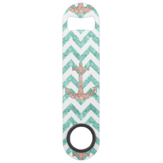 Coral Glitter Nautical Anchor Teal Chevron Zigzags Speed Bottle Opener