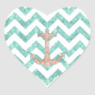 Coral Glitter Nautical Anchor Teal Chevron Zigzags Heart Sticker