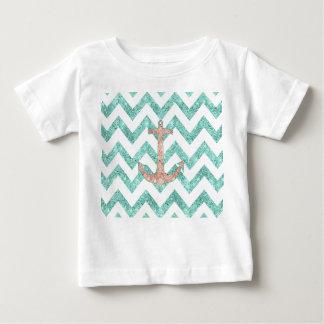 Coral Glitter Nautical Anchor Teal Chevron Zigzags Tee Shirts