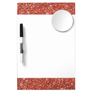 Coral Glitter Printed Dry Erase Board With Mirror