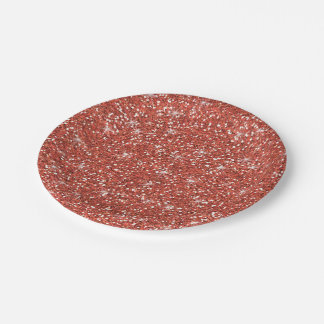 Coral Glitter Printed Paper Plate
