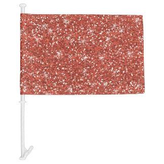 Coral Glitter Printed Car Flag