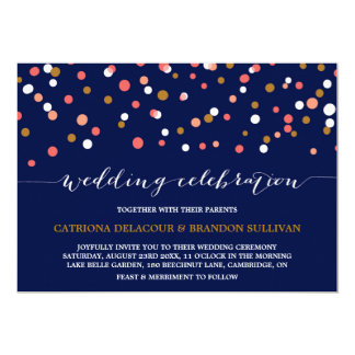Coral & Gold Confetti Dots | Navy Wedding Card