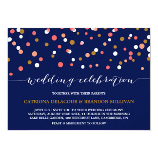 Coral & Gold Confetti Dots | Navy Wedding II Card