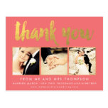 Coral Gold Foil Thank You Script Typography Photo Postcard