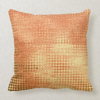 Coral Gold Glitter Glam Diamond Cut Metallic Paint Throw Pillow