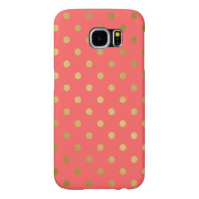 Coral Gold Glitter Polka Dots Pattern Samsung Galaxy S6 Cases
