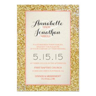 Coral Gold Glitter Wedding Announcement Invitation