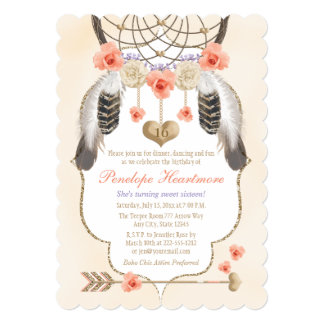 Coral Gold Lavender Dreamcatcher Boho Birthday Card