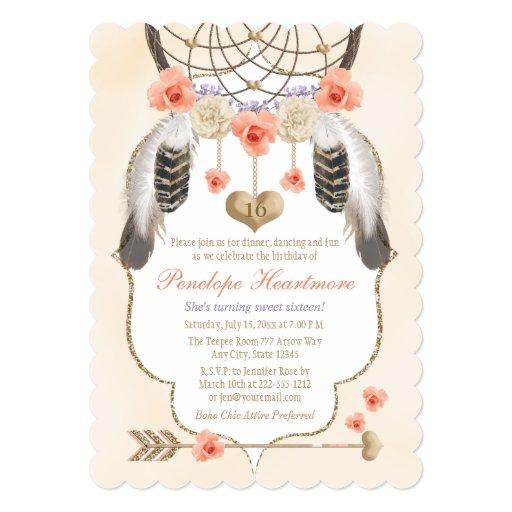 Coral Gold Lavender Dreamcatcher Boho Birthday Card