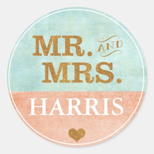 Coral, Gold, Mint Wedding Sticker