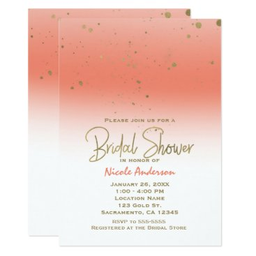Beach Themed Coral & Gold Modern Glam BRIDAL SHOWER Elegant Card