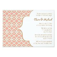 Coral Gold Moroccan Couples Wedding Shower 5x7 Paper Invitation Card (<em>$2.16</em>)