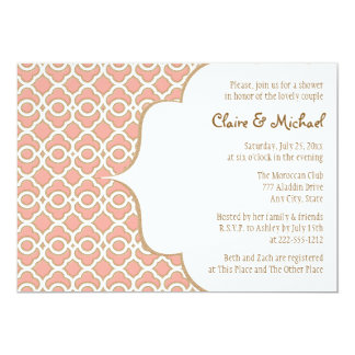 Coral Gold Moroccan Couples Wedding Shower Invites