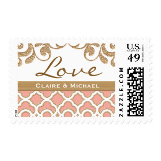 Coral Gold Moroccan Love Wedding Postage Stamp