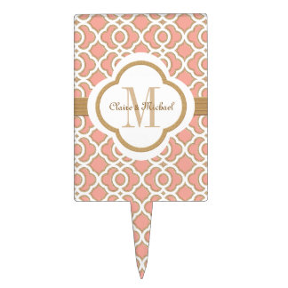 Coral Gold Moroccan Monogram Couples Cake Topper