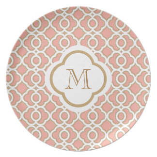 Coral Gold Moroccan Monogram Party Plates