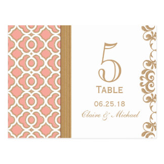 Coral Gold Moroccan Wedding Table Number Postcard