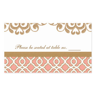 Coral Gold Moroccan Wedding Table Place Business Card
