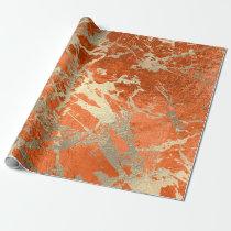 Coral Gold Salmon Marble Shiny Metallic Grungy VIP Wrapping Paper
