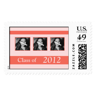 Coral Graduation Photos 2012 Announcement Postage Stamps