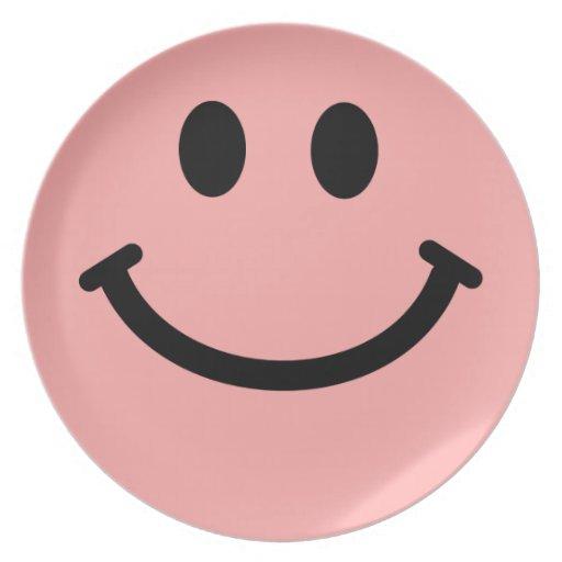 Coral grande/placa frontal sonriente rosada plato de comida