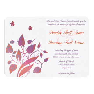 Coral Gray Berry & Plum Butterfly Wedding Invites