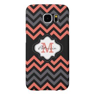 Coral Gray Black Chevron Striped Custom Monogram Samsung Galaxy S6 Cases
