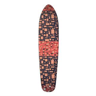 Coral gray black white geometric pattern skateboard deck