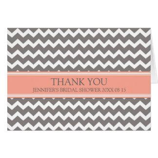 Coral Gray Chevron Bridal Shower Thank You Card